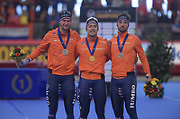 SPEEDSKATING: INZELL: Max Aicher Arena, 09-02-2019, ISU World Single Distances Speed Skating Championships, Podium 1000m Men, Thomas Krol (NED), Kai Verbij (NED), Kjeld Nuis (NED), ©photo Martin de Jong