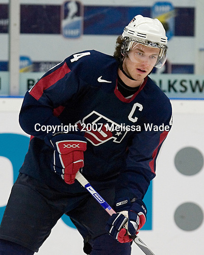 Taylor Chorney (Hastings, Minnesota - University of North Dakota) takes part in warmups. Team USA defeated Team Finland 6-3 in a 2007 World Juniors quarterfinal matchup on Tuesday, January 2, 2007 at FM Matsson Arena in Mora, Sweden.