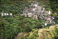 The schist built village of Piódão, Portugal, is perched in the Serra do Açor highlands.
