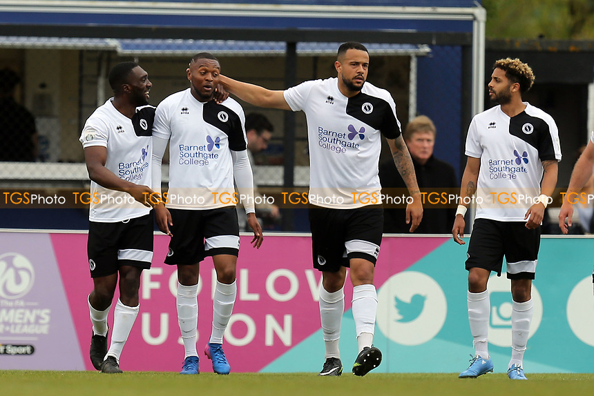Ricky Shakes of Boreham Wood is congratulated after scoring the opening goal during Boreham Wood vs Dagenham & Redbridge, Vanarama National League Football at Meadow Park on 14th April 2017