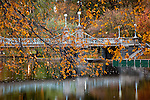 Autumn leaves at the Victorian Bridge in the Boston Public Garden, Boston, MA, USA
