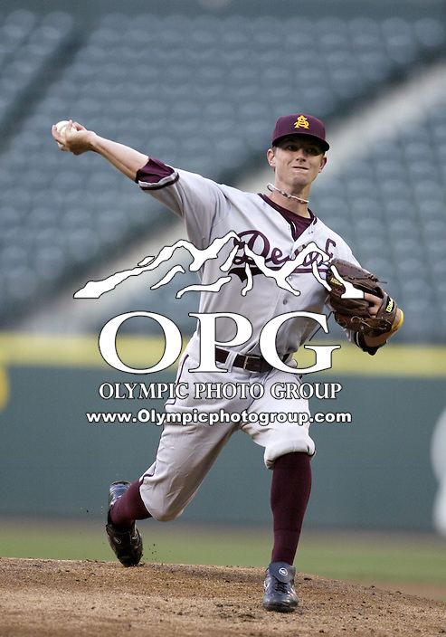 03 April 2009:  Arizona State starting pitcher #8 Mike Leake fires the ball to the plate against Washington.  Leake only allowed 1 run against the Washington Huskies at Safeco Field in Seattle, WA.  Arizona State won 3-1 over Washington.
