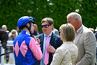 Trainer Richard Spencer,Jockey Charles Bishop and connections of Born to Destroy in the Parade Ring during Afternoon Racing at Salisbury Racecourse on 16th May 2019