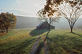 Barn in pasture in morning haze