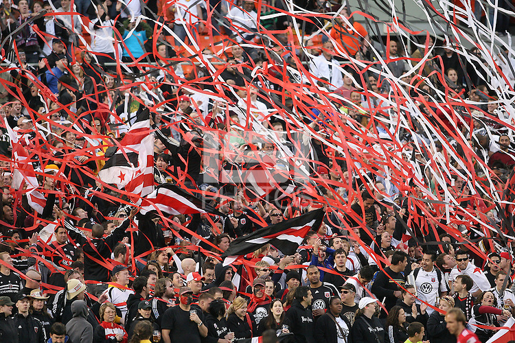 Fans of D.C. United during an MLS match against the Chicago Fire on April 17 2010, at RFK Stadium in Washington D.C. Fire won 2-0.