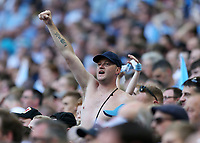 28th May 2018, Wembley Stadium, London, England;  EFL League 2 football, playoff final, Coventry City versus Exeter City; Coventry City fan celebrating after Jack Grimmer of Coventry City scores his sides 3rd goal in the 68th minute to make it 3-0
