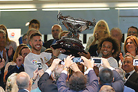 Sergio Ramos and Marcelo with the cup of Champions Santiago Bernabeu Trophy