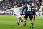 "Real Madrid's Francisco Roman ""Isco"" and Malaga CF's Roberto Jose Rosales during La Liga match between Real Madrid and Malaga CF at Santiago Bernabeu Stadium in Madrid, Spain. January 21, 2017. (ALTERPHOTOS/BorjaB.Hojas)"