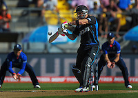 Brendon McCullum bats during the ICC Cricket World Cup one day pool match between the New Zealand Black Caps and England at Wellington Regional Stadium, Wellington, New Zealand on Friday, 20 February 2015. Photo: Dave Lintott / lintottphoto.co.nz
