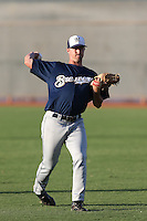 Brock Hudgens #16 of the AZL Brewers throws before a game against the AZL Reds at the Cincinnati Reds Spring Training Complex on July 5, 2014 in Goodyear Arizona. AZL Reds defeated the AZL Brewers, 7-2. (Larry Goren/Four Seam Images)