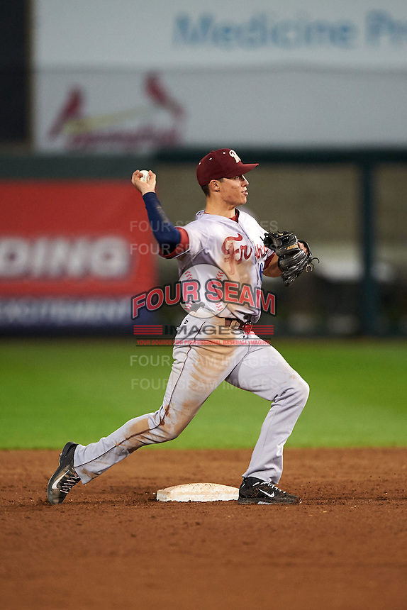 Frisco RoughRiders shortstop Drew Robinson (16) throws to first during a game against the Springfield Cardinals  on June 4, 2015 at Hammons Field in Springfield, Missouri.  Frisco defeated Springfield 8-7.  (Mike Janes/Four Seam Images)