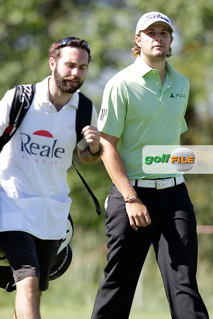 Peter Uihlein (USA) walks off the 2nd tee during Thursday's Round 1 of the 2014 Open de Espana held at the PGA Catalunya Resort, Girona, Spain. Wednesday 15th May 2014.<br /> Picture: Eoin Clarke www.golffile.ie