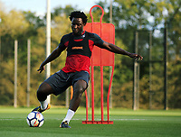 Pictured: Wilfried Bony goes through his medical at the Fairwood Training Ground, Wales, UK. Thursday 31 August 2017<br /> Re: Wilfried Bony has signed a contract with Swansea City FC.