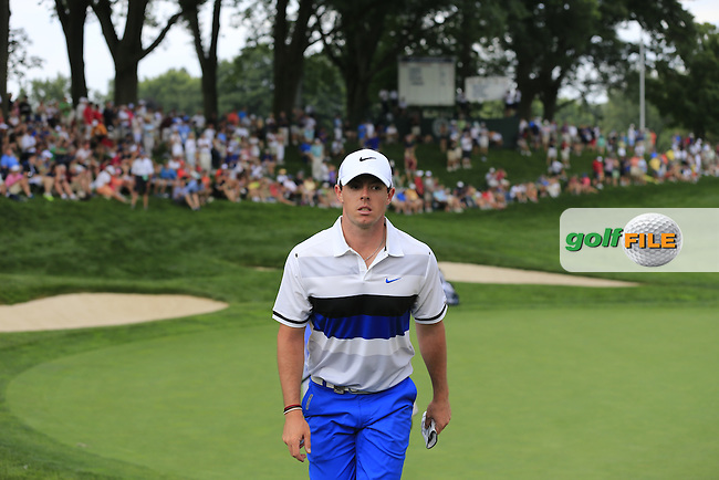 Rory McIlroy (NIR) walks off the 13th green during Thursday's Round 1 of the 95th US PGA Championship 2013 held at Oak Hills Country Club, Rochester, New York.<br /> 8th August 2013.<br /> Picture: Eoin Clarke www.golffile.ie