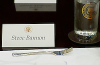 United States President Donald Trump's Chief Strategist Steve Bannon's name tag sits on the a table before a lunch in the Roosevelt Room of the White House on February 22, 2017 in Washington, DC. Photo Credit: Olivier Douliery/CNP/AdMedia