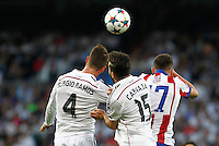 Real Madrid's Spanish defense Sergio Ramos and Carvajal and Atletico Madrid´s Saul