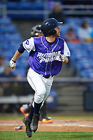 Binghamton Rumble Ponies right fielder Kevin Kaczmarski (14) runs to first base during a game against the Akron RubberDucks on May 12, 2017 at NYSEG Stadium in Binghamton, New York.  Akron defeated Binghamton 5-1.  (Mike Janes/Four Seam Images)