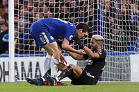 Andreas Christensen of Chelsea and Riyad Mahrez of Leicester city during Chelsea vs Leicester City, Premier League Football at Stamford Bridge on 13th January 2018