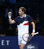 Nicolas Mahut celebrates a winning point during his match with partner Pierre-Hughes Herbert against Jack Sock and Mike Bryan in their doubles Final match today<br /> <br /> Photographer Rob Newell/CameraSport<br /> <br /> International Tennis - Nitto ATP World Tour Finals Day 8 - O2 Arena - London - Sunday 18th November 2018<br /> <br /> World Copyright &copy; 2018 CameraSport. All rights reserved. 43 Linden Ave. Countesthorpe. Leicester. England. LE8 5PG - Tel: +44 (0) 116 277 4147 - admin@camerasport.com - www.camerasport.com