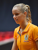 The Netherlands, Den Bosch, 16.04.2014. Fed Cup Netherlands-Japan, training, Arantxa Rus (NED)<br /> Photo:Tennisimages/Henk Koster