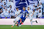 John Guidetti (R) of Deportivo Alaves competes for the ball with Theo Hernandez of Real Madrid during the La Liga 2017-18 match between Real Madrid and Deportivo Alaves at Santiago Bernabeu Stadium on February 24 2018 in Madrid, Spain. Photo by Diego Souto / Power Sport Images