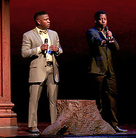 "The two presenters of the night, from left, Javion ""JT"" Tinsley '20 and Rahsaan Middleton '19.<br /> Occidental College students perform and compete during Apollo Night, one of Oxy's biggest talent showcases, on Feb. 22, 2019 in Thorne Hall. Sponsored by ASOC and hosted by the Black Student Alliance as part of Black History Month.<br /> <br /> Photo by Alex Yawata '21, La Encina"