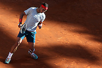Lo spagnolo Rafael Nadal esulta durante la finale maschile degli Internazionali d'Italia di tennis a Roma, 19 Maggio 2013..Spain's Rafael Nadal reacts after winning a point during the final match of the Italian Open Tennis men's tournament ATP Master 1000 in Rome, 19 May 2013..UPDATE IMAGES PRESS/Riccardo De Luca