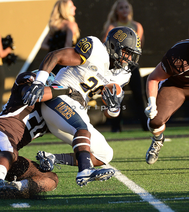Murray State Racers Roman Clay (20) during a game against the Western Michigan Broncos on September 19, 2015 at Waldo Stadium in Kalamazoo, MI. Western Michigan beat Murray State52-20