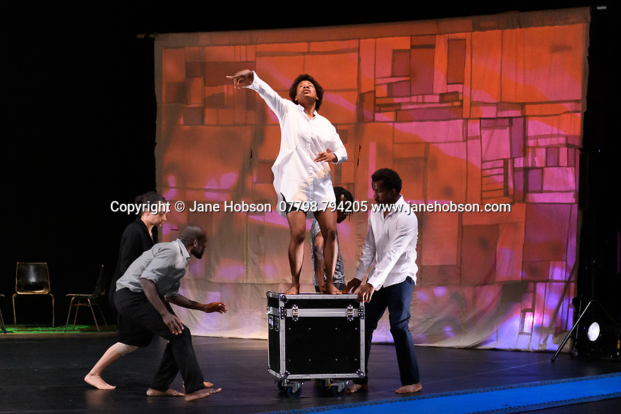 """Faso Danse Theatre/ Serge Aime Coulibaly presents """"Kalakuta Republik"""", choreographed by Aerge Aime Coulibaly, at the Royal Lyceum Theatre, as part of the Edinburgh International Festival.  The dancers are: Marion Alzieu, Serge Aime Coulabily, Adonis Nebie, Sayouba Segue, Ahmend Soura, Ida Faho. Picture shows: Marion Alzieu, Ahmend Soura, Ida Faho, Adonis Nebie, Sayouba Segue,."""