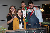 "NWA Democrat-Gazette/CARIN SCHOPPMEYER Courtney Stowers (from left), Sarah Harrington, Brett Bassett and David Burnett, ""Team Little Rock,"" compete at the Nog Off on Dec. 11. Their ""Bootleg Eggnog"" won the People's Choice Award."