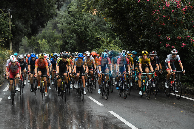 The peloton during a treacherous Stage 1 of Tour de France 2020, running 156km from Nice Moyen Pays to Nice, France. 29th August 2020.<br /> Picture: ASO/Alex Broadway | Cyclefile<br /> All photos usage must carry mandatory copyright credit (© Cyclefile | ASO/Alex Broadway)