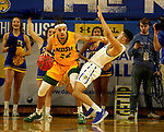 BROOKINGS, SD - JANUARY 22: Cameron Hunter #22 of the North Dakota State Bison gets called for an offensive foul against Matthew Mims #1 of the South Dakota State Jackrabbits at Frost Arena on January 22, 2020 in Brookings, South Dakota. (Photo by Dave Eggen/Inertia)