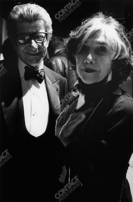 Yves Saint Laurent, fashion designer, presenting his last collection, backstage with Anne Marie Munoz, Paris, France, January 22, 2002