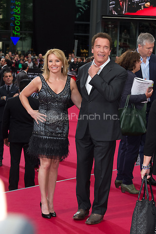 Heather Milligan and Arnold Schwarzenegger attending the Terminator: Genisys Premiere held at CineStar, Sony Center, Berlin, Germany, 21.06.2015. <br /> Photo by Christopher Tamcke/insight media /MediaPunch ***FOR USA ONLY***