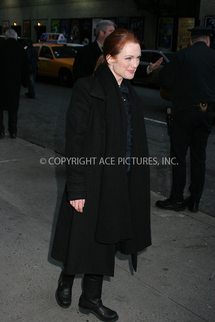 WWW.ACEPIXS.COM . . . . .  ....January 11, 2007, New York City. ....Julianne Moore Stops by the Late Show with David Letterman at the Ed Sullivan Theater.  ....Please byline: NANCY RIVERA- ACE PICTURES.... *** ***..Ace Pictures, Inc:  ..Philip Vaughan (212) 243-8787 or (646) 769 0430..e-mail: info@acepixs.com..web: http://www.acepixs.com
