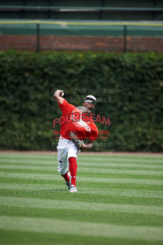 Jordon Adell (45) of Ballard High School in Prospect, Kentucky during practice before the Under Armour All-American Game presented by Baseball Factory on July 23, 2016 at Wrigley Field in Chicago, Illinois.  (Mike Janes/Four Seam Images)