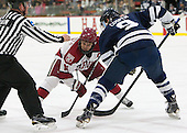 Stephen Drain, Kyle Criscuolo (Harvard - 11), Carson Cooper (Yale - 9) - The visiting Yale University Bulldogs defeated the Harvard University Crimson 2-1 (EN) on Saturday, November 15, 2014, at Bright-Landry Hockey Center in Cambridge, Massachusetts.