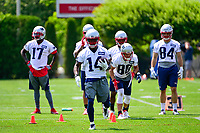 June 13, 2017: New England Patriots wide receiver Brandon Cooks (14) runs with the ball at the New England Patriots organized team activity held on the practice field at Gillette Stadium, in Foxborough, Massachusetts. Eric Canha/CSM