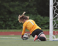 Boston Breakers substitute goalkeeper Alyssa Naeher (1) handles a rebound. In a National Women's Soccer League Elite (NWSL) match, Sky Blue FC (white) defeated the Boston Breakers (blue), 3-2, at Dilboy Stadium on June 16, 2013.