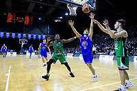 Shea Ili (Saints) tries to intercept a restart pass from Jackson Stubbins (Jets, right) to Daishon Knight (Jets) during the national basketball league match between Cigna Wellington Saints and Manawatu Jets at TSB Bank Arena in Wellington, New Zealand on Sunday, 30 June 2019. Photo: Dave Lintott / lintottphoto.co.nz