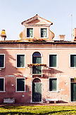 ITALY, Venice. The front of a house located in the Castello district. Castello is the largest of the six sestieri of Venice.
