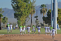 Sept. 16, 2009; Casa Grande, AZ, USA; California Redwoods players head out to the field to begin practice during training camp at the Casa Grande Training Facility & Performance Institute. Mandatory Credit: Mark J. Rebilas-