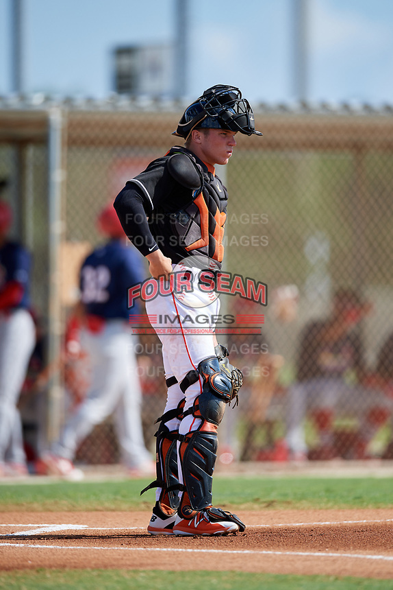 GCL Marlins catcher Keegan Fish (6) during a game against the GCL Cardinals on August 4, 2018 at Roger Dean Chevrolet Stadium in Jupiter, Florida.  GCL Marlins defeated GCL Cardinals 6-3.  (Mike Janes/Four Seam Images)