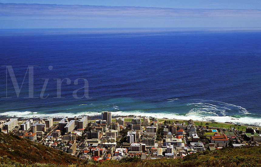 South Africa. Cape Town suburb, backed by Table Mountain facing the Atlantic..