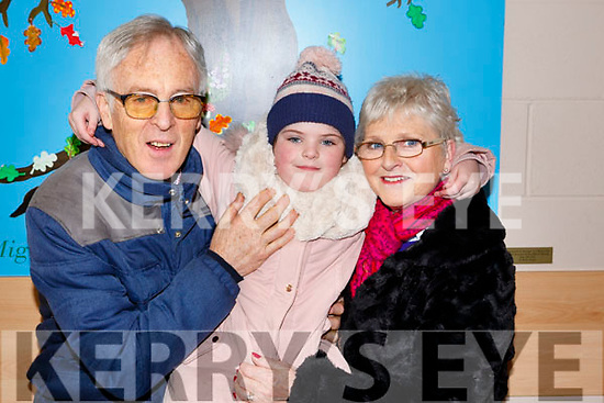 Saoirse O'Connor with her grandparents Aiden and Dolores O'Connor of Tralee at the Blennerville National schools Grandparents day on Friday last