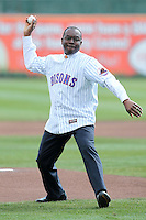Buffalo mayor Byron W. Brown throws out the first pitch for the Buffalo Bisons before a game against the Syracuse Chiefs at Dunn Tire Park on April 7, 2011 in Buffalo, New York.  Syracuse defeated Buffalo 8-5.  Photo By Mike Janes/Four Seam Images