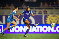 Orlando, FL - Saturday July 16, 2016: Arin Gilliland, Christina Burkenroad during a regular season National Women's Soccer League (NWSL) match between the Orlando Pride and the Chicago Red Stars at Camping World Stadium.