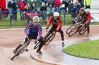 31 AUG 2015 - IPSWICH, GBR - Charlie Rumbold (left) of Ipswich leads Zac Payne of Horspath during a heat at the British Cycle Speedway Championships at Whitton Sports and Community Centre in Ipswich, Suffolk, Great Britain (PHOTO COPYRIGHT © 2015 NIGEL FARROW, ALL RIGHTS RESERVED)