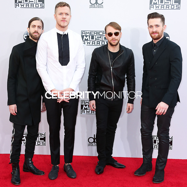 LOS ANGELES, CA, USA - NOVEMBER 23: Wayne Sermon, Dan Reynolds, Ben McKee, Daniel Platzman, Imagine Dragons arrive at the 2014 American Music Awards held at Nokia Theatre L.A. Live on November 23, 2014 in Los Angeles, California, United States. (Photo by Xavier Collin/Celebrity Monitor)