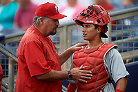 Palm Beach Cardinals catcher Jeremy Martinez (13) in the dugout during a game against the Charlotte Stone Crabs on April 11, 2017 at Charlotte Sports Park in Port Charlotte, Florida.  Palm Beach defeated Charlotte 12-6.  (Mike Janes/Four Seam Images)